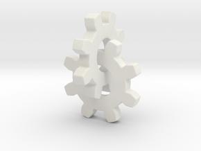 Interlocking Gears in White Natural Versatile Plastic