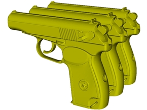 1/25 scale USSR KGB Makarov pistols x 3 in Smooth Fine Detail Plastic