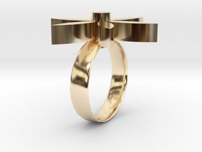 flower ring.stl in 14K Yellow Gold