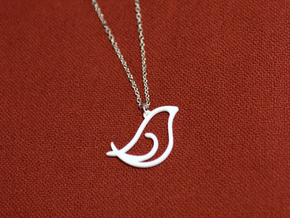 Bird pendant in White Processed Versatile Plastic