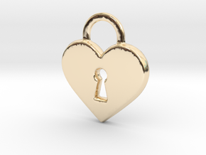 Locked Heart Pendant in 14k Gold Plated Brass