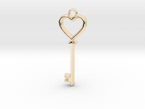 Heart Key Pendant in 14k Gold Plated Brass