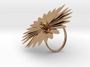 浮誇花戒指.stl in Polished Brass: Small