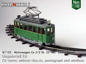 "Motorwagen Ce 2/2 Nr 22""-55"" (Nm 1:160) in Smooth Fine Detail Plastic"