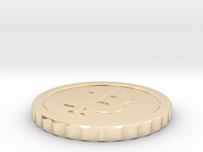 Bitcoin, 26 mm diameter in 14K Yellow Gold