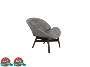 Miniature Lounge Chair - Gloster Dansk in White Natural Versatile Plastic: 1:24
