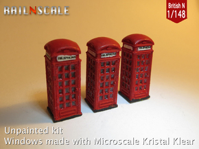 SET 3x Telephone box K2 (British N 1:148) in Frosted Ultra Detail