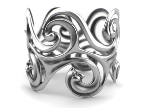 Surf Waves - Sterling Silver Cuff Bangle in Polished Silver: Medium