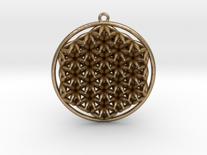 Super Flower Of Life Dual Sided Pendant  in Polished Gold Steel