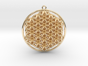 Super Flower Of Life Dual Sided Pendant  in 14k Gold Plated Brass