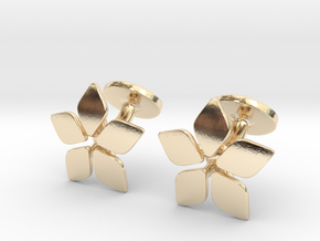Five leafed cufflink in 14k Gold Plated Brass