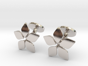 Five leafed cufflink in Rhodium Plated Brass