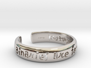 Binaries Are For Computers Open Cuff Bangle in Rhodium Plated Brass