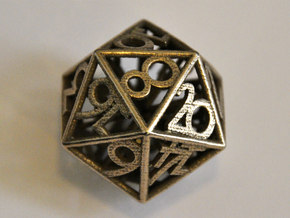 D20 Balanced - Numbers Only in Polished Bronzed Silver Steel