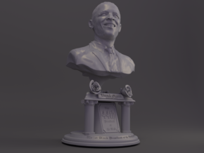 4 Inch miniature Barack Obama hand sculpted Bust in White Natural Versatile Plastic