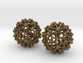 Snowballs - Earrings in Cast Metals in Polished Bronze