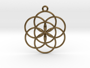 """Seed of Life Pendant 1"""" in Natural Bronze"""