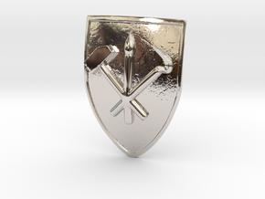 Ancient North Korean Badge (original)  in Rhodium Plated Brass