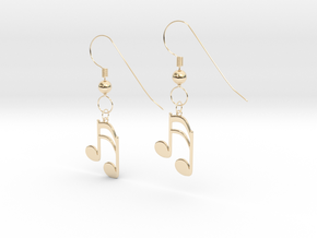 Music note earrings version 1 in 14K Yellow Gold