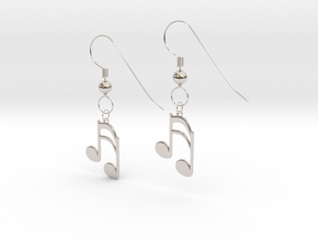 Music note earrings version 1 in Rhodium Plated Brass