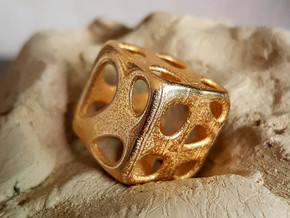 Organic Dice in Polished Gold Steel