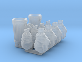 Trash cans & trash bags. S scale (1:64) in Smooth Fine Detail Plastic