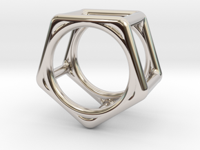 Simply Shapes Rings Pentagon in Rhodium Plated Brass: 3.25 / 44.625