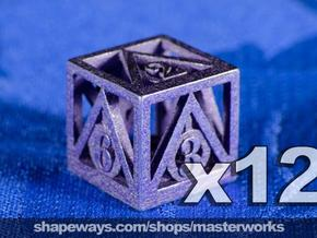 Deathly Hallows 12d6 Set in Polished Bronzed Silver Steel