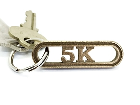 5K Keychain Running Gift in Polished Bronzed Silver Steel