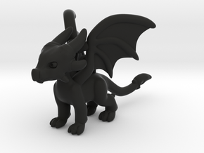 Cynder the Dragon Pendant/charm in Black Natural Versatile Plastic