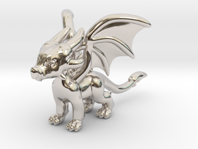 Cynder the Dragon Pendant/charm in Rhodium Plated Brass