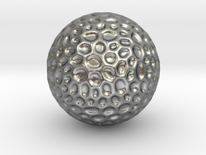 DRAW geo - sphere alien egg golf ball in Natural Silver: Small