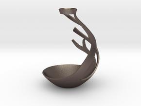 Tulip shaped vase patterned base type 2 in Polished Bronzed Silver Steel