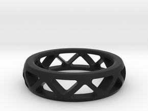 Geometric Ring- size 12 in Black Natural Versatile Plastic: 12 / 66.5