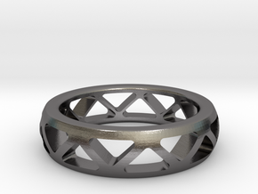 Geometric Ring- size 9 in Polished Nickel Steel