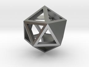 Go Geometric Pendant Icosa Open in Natural Silver