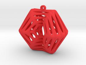 Voronoi Klein Earring (002) in Red Processed Versatile Plastic