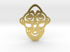 Mask Pendant in Polished Brass