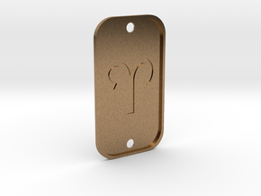 Aries (The Ram) DogTag V4 in Natural Brass