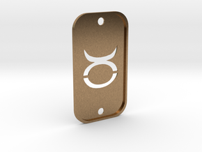 Taurus (The Bull) DogTag V2 in Natural Brass