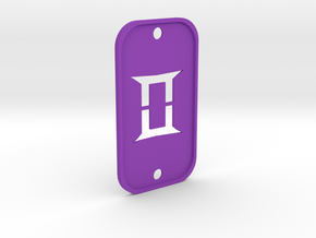 Gemini (The Twins) DogTag V2 in Purple Processed Versatile Plastic