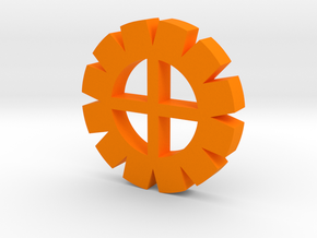 Cog Wheel Button in Orange Processed Versatile Plastic