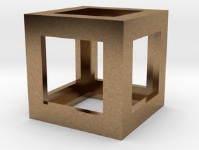 Mech Key Fidget Cube in Natural Brass