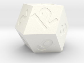 Jumbo Rhombic D12 in White Strong & Flexible Polished