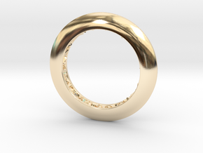 Ring shaped pendant with a raw band inside in 14k Gold Plated Brass