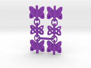 3 Dangling butterfly earrings in Purple Processed Versatile Plastic