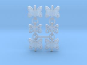 3 Dangling butterfly earrings (metallic plastic an in Smooth Fine Detail Plastic