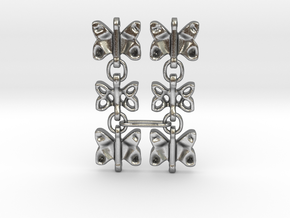 3 Dangling butterfly earrings (metallic plastic an in Natural Silver (Interlocking Parts)