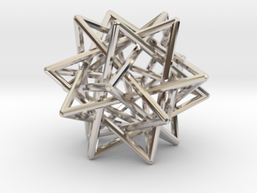 Interlaced Tetrahedrons 3 Inch x 3 Inch in Platinum