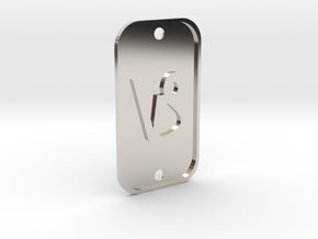 Capricorn (The Mountain Sea-goat) DogTag V1 in Rhodium Plated Brass